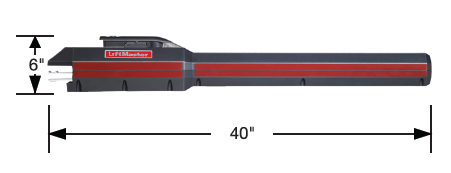 "The dimensions of the arm of the operator are 6"" x 40"""